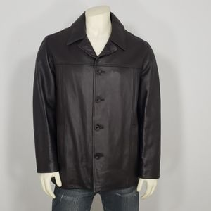 J.CREW BROWN LEATHER WOOL BLEND LINING JACKET L